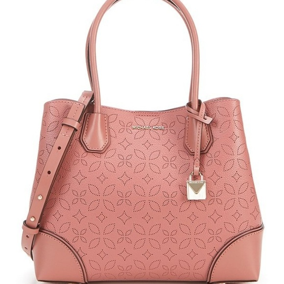 Details about Authentic Michael Kors Mercer Gallery Medium Center Zip Tote Rose Leather NWT